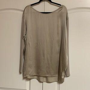 Vince Beige Silk Drop Shoulder Knit Blouse L
